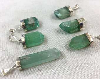6 pieces an amazing green kunzite pendants sterling with 925 silver @KSV