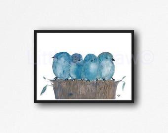 Bird Print Watercolor Painting Print Blue Bird Art Print Bluebirds Print Bird Wall Art Living Room Decor Wall Decor Home Decor Unframed