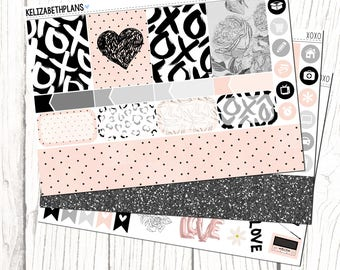 XOXO || Valentines, Love, Girly, Fashion, Planner Stickers, MINI KIT