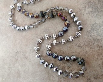 """Long Hand-knotted Necklace with Metallic and Glass Beads """"A Fine Fat Tuesday' - Item 1591"""