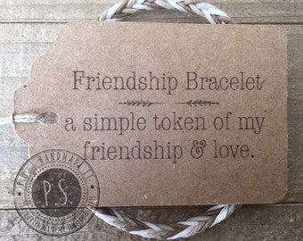 Handmade Gift - Chevron Friendship Bracelet w/ Gift Tag - Choose Your Favorite Color -Kids to Adult sizes