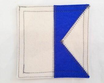 Wool felt coaster nautical signal flag A
