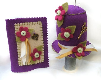 Sewing Needle Case and Pincushion Gift Set, Hand Sewn Hat Pincushion and Matching Felt Needlebook with Plum Pink Flowers, Seamstress Gift