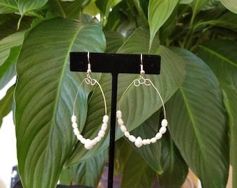 Natural Pearl Hoop Earrings