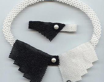 Beading pattern seed beaded black white collar necklace instructions beading peyote peyote stitch necklace seed bead beads beadwork bracelet