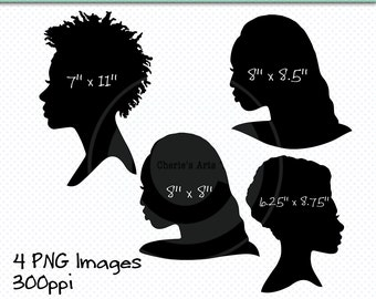African American Women Silhouettes, Americans of African Decent Clip Art, Women Silhouettes, Clip Art, Digital Scrapbooking Element, Clipart