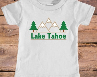 Lake Tahoe, California Mountain & Trees - Eco Tri-Blend Infant T-Shirt
