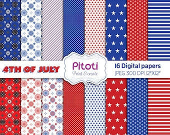 4th of July Digital Paper, July 4th Digital Paper, fourth of july background, Red white and blue Digital Paper, Patriotic digital paper.