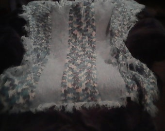 Baby blue and white blanket