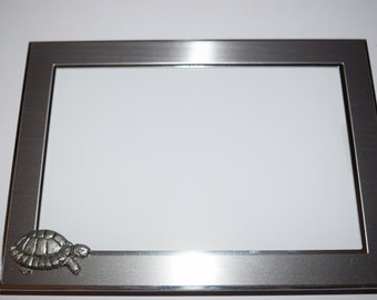 Tortoise Picture Frame Silver Chrome with Pewter Tortoise Portrait or Landscape