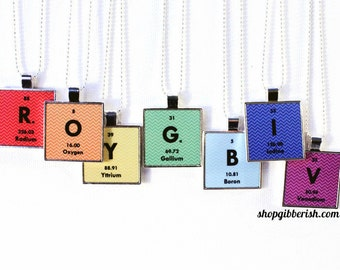 Chemistry Science Jewelry Personalized Periodic Table Necklace Colors Jewelry- Chevron ROYGBIV
