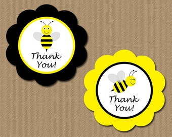 Printable Thank You Tags - DIY Bumble Bee Party Favor Tags - Yellow Black - INSTANT DOWNLOAD