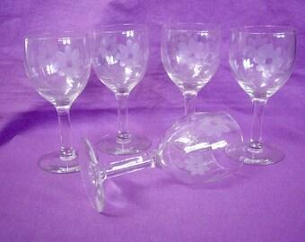 Set of 5 Vintage Cordial Glasses