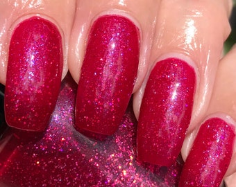 Cool Berry  drk pink red glitter nail polish