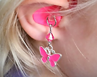 Hearing Aid Charms: Beautiful and Bright Butterflies with Glass Accent Beads!  Available in 5 great colors!