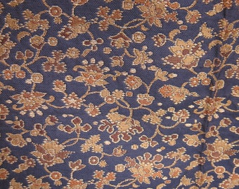 Vintage Brocade Fabric. Deep Brown Background, Gold & Orange Floral.  2 Yards, 31 Inches Long.  28 Inch Wide.  Stored in a Non-Smoking Home.