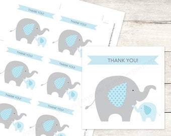 elephant baby shower favor tags printable DIY baby boy elephants favour tags aqua blue grey cute thank you cards - INSTANT DOWNLOAD