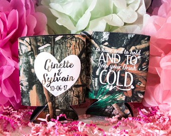Camo Wedding Favors, Camo Can Cooler, Hunting Wedding, Rustic Wedding Favors, Camo Wedding Favors, Monogrammed Camo wedding, Personalized