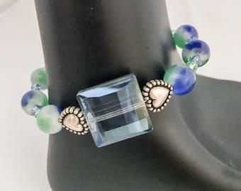 Blue beaded bracelet, green beaded bracelet, blue bracelet, green bracelet, heart bracelet, beaded bracelet