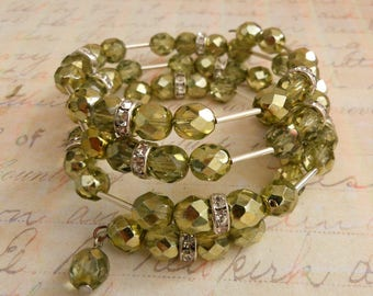 Olive Green Bangle, Four Strand Memory Wire Silver and Crystal Rhinestone Bead Layering Wrap Cuff, Unique Present for Birthday to Daughter