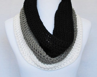 Black, Grey and White Crochet Scarf, Crochet Cowl, Striped Neck Warmer, Infinity Scarf, Gray Striped Cowl