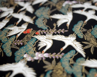 Handmade origami paper - Cranes on black