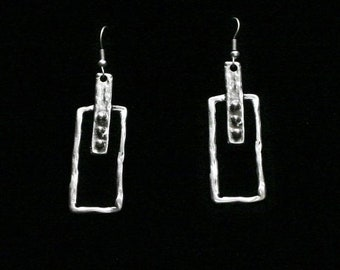 Antique Silver Plated Pewter Jewelry Earrings KU123