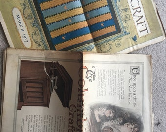 Lot of 5 Antique Needlecraft Magazines. February 1917. January 1917. March 1917. December 1917. August 1917