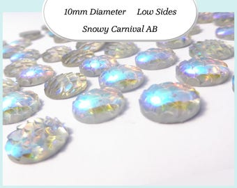 10 x 10mm Snowy Carnival AB Mermaid Fish Scale Cabochons - Australia