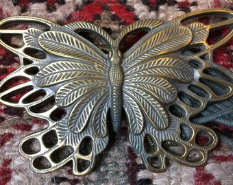 Big brass butterfly belt with waxed linen rope cords