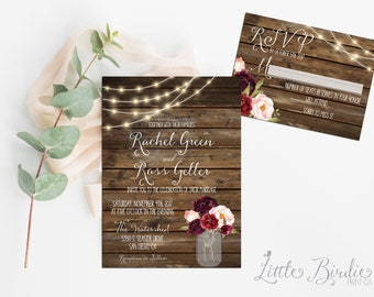 Rustic Fall Floral Wedding Invitation Suite - Wedding Invite RSVP Digital Printable or Printed Cards