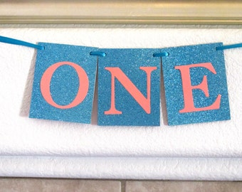 Turquoise Coral First Birthday Banner Turquoise Coral Birthday Girl First Birthday Boy First Birthday Nautical Birthday Highchair Banner