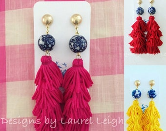 PINK RED YELLOW or White Stacked Tassel Statement Earrings | Chinoiserie, blue and white, navy, gold, floral, tiered, layered, posts, lightw
