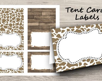 Western Tent Cards, Country Place Cards, Printable Tent Cards, Food Labels, Instant Download, Cowboy Theme, party supplies, name tags, wood