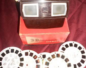 Viewmaster 3D Fabulous 1950s Atomic Cat Faced Sawyers View Master Viewer In Original Box With 5 Reels