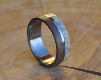 Stainless Steel Ring with Deer Antler Ring and Walnut Wood Inlays, Men's or Women's Ring