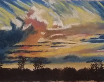 Sky Before the Storm - Original Pastel Art Drawing
