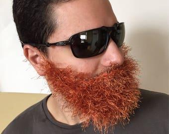 Handmade Crochet Beard Only, dettached beard, fuzzy Beard, choose any color you like, Irish beard, copper beard, ginger beard, red beard