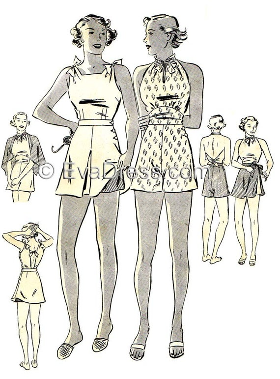 1930s Fashion Colors & Fabric 1936 Swimsuits Multi-size Pattern by EvaDress1936 Swimsuits Multi-size Pattern by EvaDress $22.00 AT vintagedancer.com