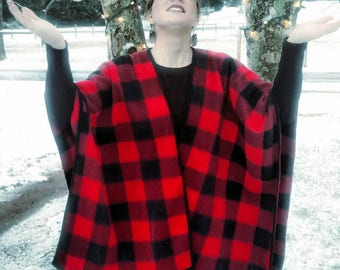 Buffalo Plaid Wrap/poncho/cape