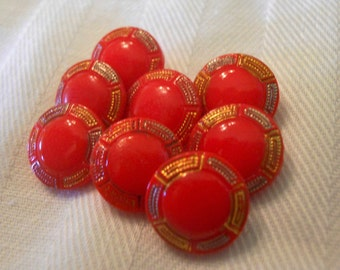 Vintage Opaque Cherry Red Glass Diminutive Glass Buttons ~ Set of 8 ~ 3/8 inch