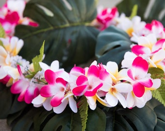 Deluxe silk flower lei all pink plumerias deluxe silk flower lei pink white plumerias mightylinksfo