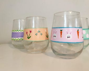 Easter Eggs hand painted stemless wine glass, set of 4, spring, easter bunny, polka dots