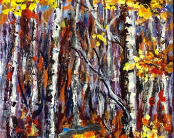 Birches Trees Landscape Fall Colors Aspen Trees  original painting 6 x 8""