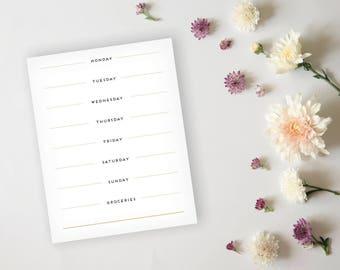 Menu Planner - Simple Elegant Black and Gold Menu Planner Sheet