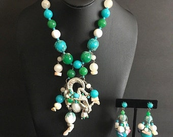 ON SALE Vintage Dragon Necklace Earring Set Green White Aqua Beaded Collectible Asian Jewelry 1960's 1970's