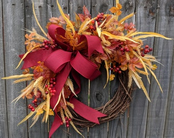 Fall Wreath, Fall / Autumn Wreath, Fall Berries Wreath with Bow, Thanksgiving, Halloween, Horns Handmade
