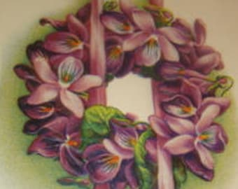 Pretty Vintage Floral Wreath Postcard