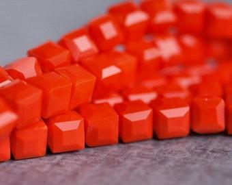 4mm Opaque Dark Orange Faceted Glass Cube Bead : Full Strand