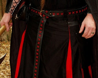 Leather Ring Belt in Black with Red Lacing